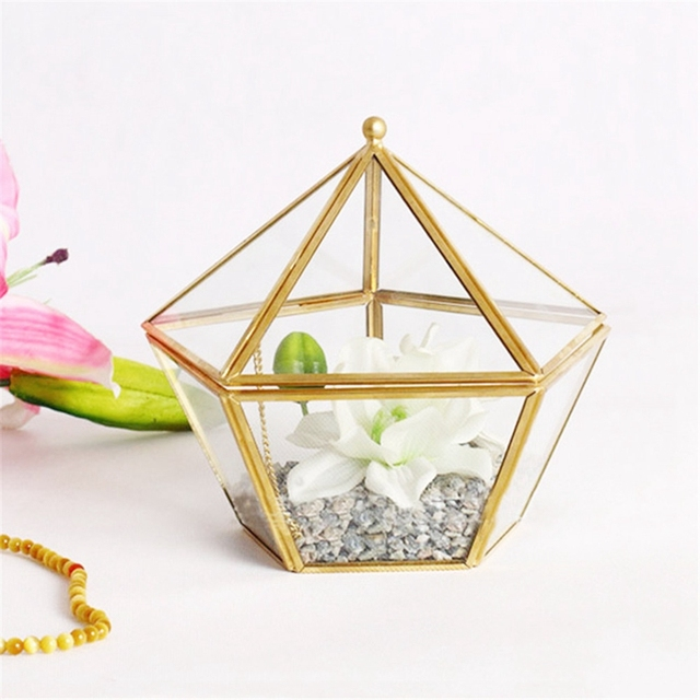 Glass Ring Box Wedding Jewelry Case Immortal Flower Glass Cover Creative Home Decoration