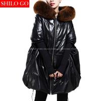 Winter Fashion Women High Quality Luxury Fox Fur Collar Hooded Loose Casual Bat Sleeves Genuine Leather