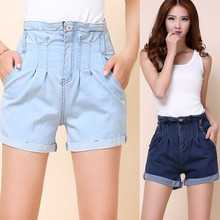 The new female denim shorts jeans female low-waist shorts 2016 women's jeans female Korean hole denim shorts curling 8823