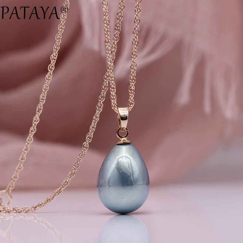 PATAYA New 328 Anniversary Water Drop Long Necklace Women Fashion Jewelry 585 Rose Gold Wedding Fine Cute Shell Pearls Pendants