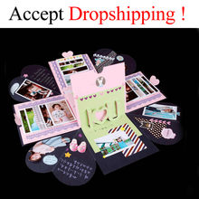 DIY Explosion Box Scrapbooking DIY Photo Album For Valentine's Day Wedding Box Birthday Party Surprise Festival Gift Box(China)