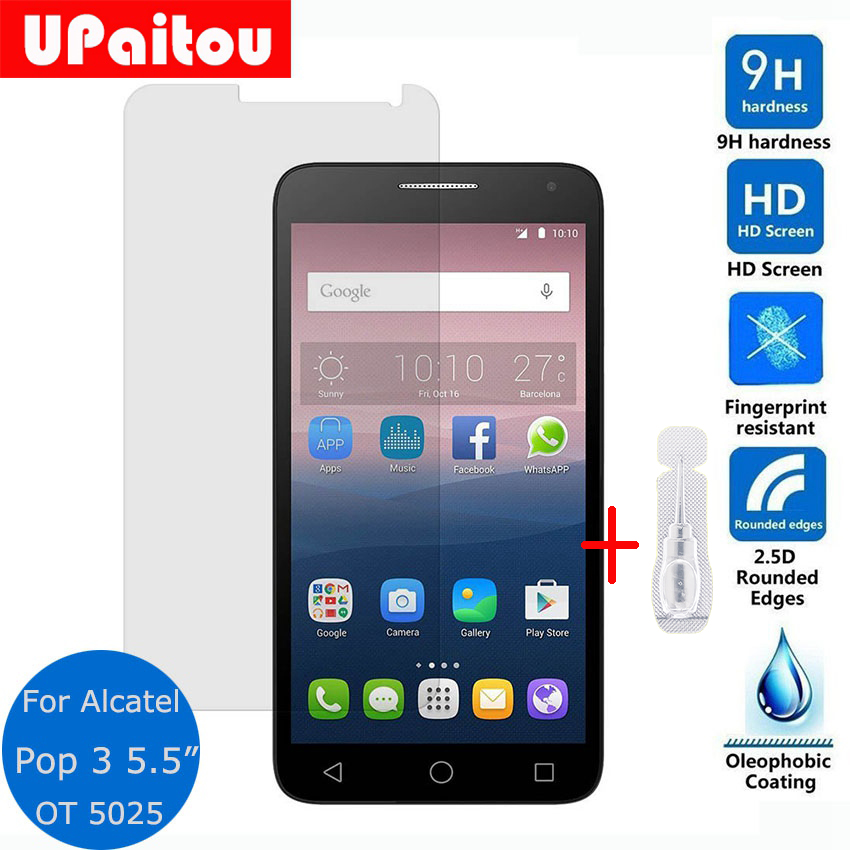 UPaitou Safety Protective Film For Alcatel One Touch Pop 3 5.5 inch 5025D Tempered Glass ...