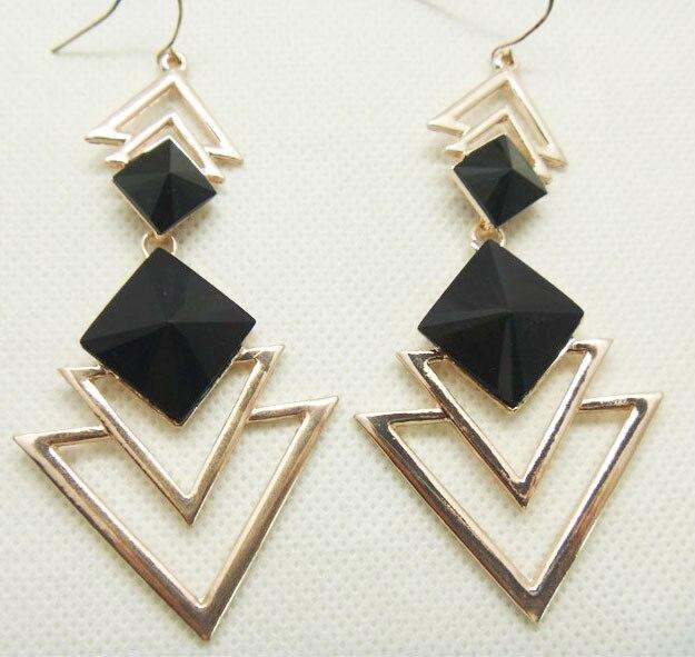 2016 Fashion Long Earrings For Women Black Earrings Vinage Dangle Earring Drop Gold Earrings Geometric Triangle famous