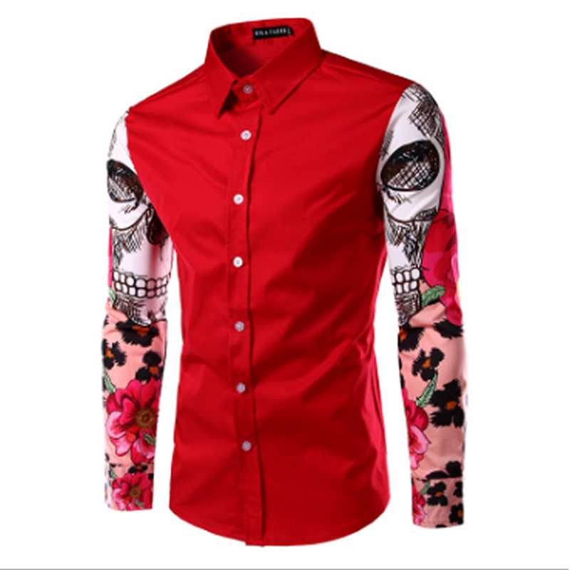 spring Men Print Shirt Fashion Pattern Design Long Flowers Sleeves Slim Fit man Casual Shirt Fashion Men Dress Shirts ...