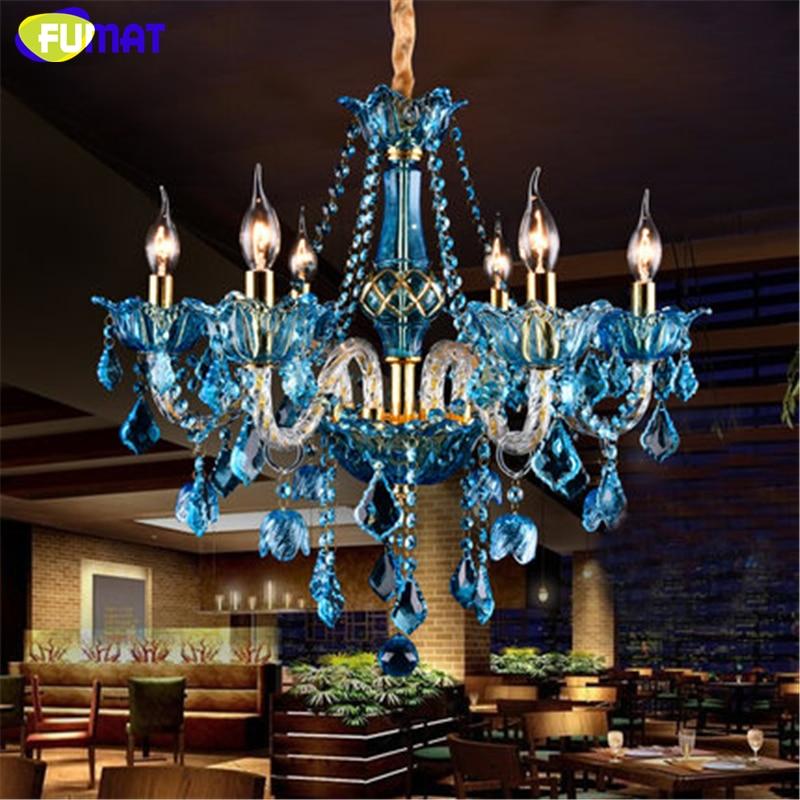 FUMAT Blau Kristall Kronleuchter Kreative Kerze Beleuchtung Wohnzimmer Restaurant Bar E14 Lampe Glanz