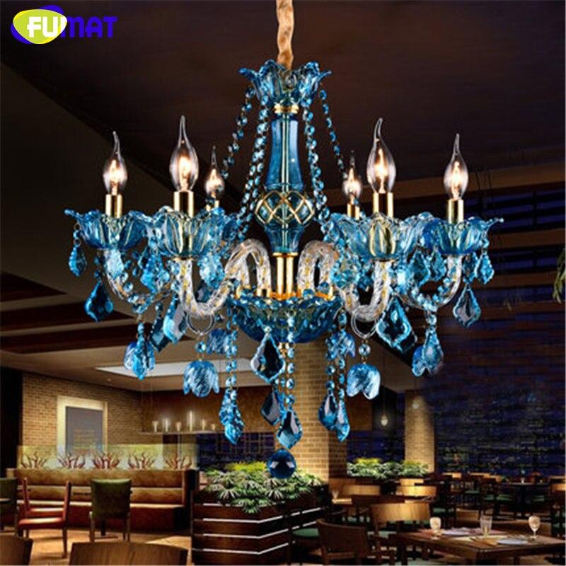 FUMAT Bleu Cristal Lustre Créatif Bougie Cristal Éclairage Salon Restaurant Bar E14 Bougie Lampe Lustre Luminaires
