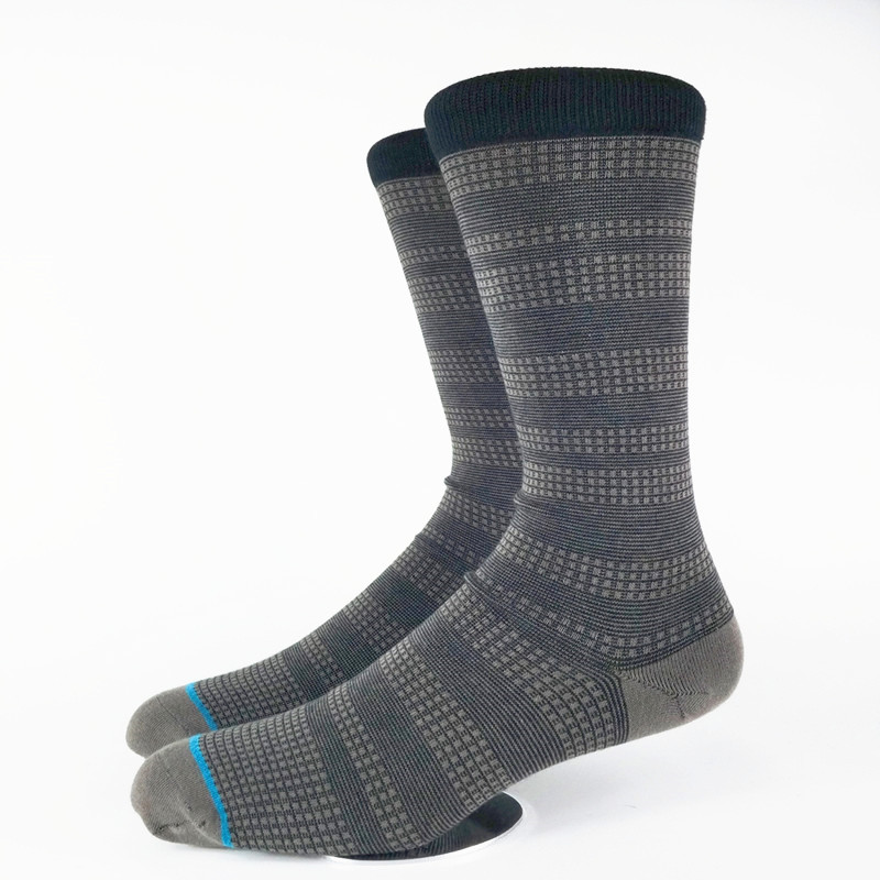 Mens Charcoal Dotted Strip Yuppie Dress Socks USA Size 6-8.5, 9-12 ,Euro Size 39-41.5,42-45(Thin Material Premium Quality)
