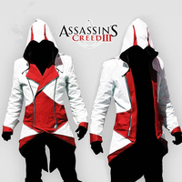 2018 Classic Anime Assassins Creed 3 III Conner Kenway Hoodie Coat Jacket Clothes Adult kids Cosplay Costume halloween party
