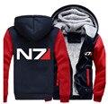 США размер Мужчины Женщины Mass Effect N7 Молнию Куртки Кофты Сгущает Толстовка Пальто Clothing Casual