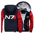 USA size Men Women Mass Effect N7 Zipper Jacket Sweatshirts Thicken Hoodie Coat Clothing Casual