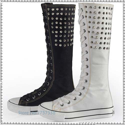 hot sale new fashion women punk rivets canvas knee high boots flats lace up zipper shoes high top woman breathable long boots