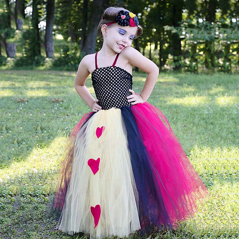 Gril Queen of Hearts Costume for Halloween Cute Children Birthday Party Dress Tutu Tulle Princess Fancy Costume for Carnival