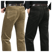 Winter article new men sweat pants high waist loose corduroy Pants thicken business casual pants elastic straight mens trousers