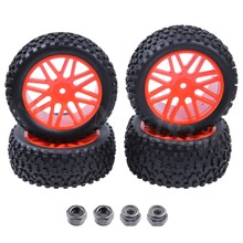 4pcs Pack RC Tires Wheel Rims 12mm Hex Foam Insert For 1 10 Buggy Car Fit