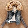 2016 Más El Tamaño de Invierno Caliente Espesa la Chaqueta de Dril de algodón Flocado de Manga Larga Faux Fur Coat Mujeres abrigo