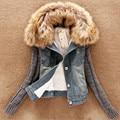 2016 Plus Size Winter Denim Jacket  Warm Thicken Long Sleeve Flocking Faux Fur Coat  Women Coat