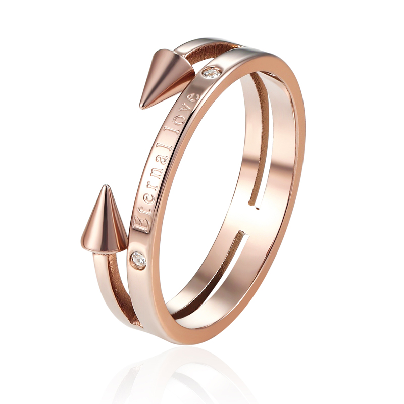 Hot Sale Beautiful and Exquisite Double Nail Woman Punk Ring High Quality Titanium Steel Crystal And Engraved Eternal Love Ring