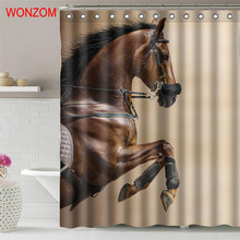 WONZOM Horse Polyester Curtains with 12 Hooks For Bathroom Decor Modern Wolf Bath 3D Waterproof Curtain 2018 New Accessories