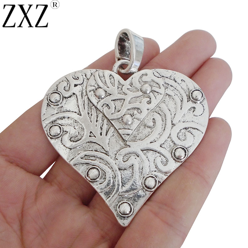 3pcs Tibetan Silver Large Heart Shape Charm Pendant for Necklace Finding 59x42mm