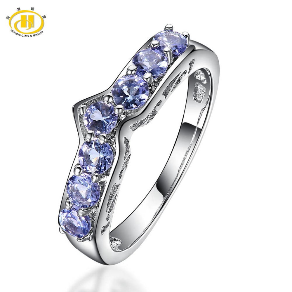 Hutang Natural Tanzanite Promise Ring Solid 925 Sterling Silver Gemstone Fine Jewelry For Womens Wedding Engagement Bridal GiftHutang Natural Tanzanite Promise Ring Solid 925 Sterling Silver Gemstone Fine Jewelry For Womens Wedding Engagement Bridal Gift