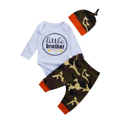 Camo Newborn Baby Boys Clothes Sets Tops Bodysuits Pants Hat Outfits 3Pcs Set Clothing Baby Boy 0-18M newborn baby boy girl 5 pcs clothing set cotton cartoon monk tops pants bib hats infant clothes 0 3 months hight quality