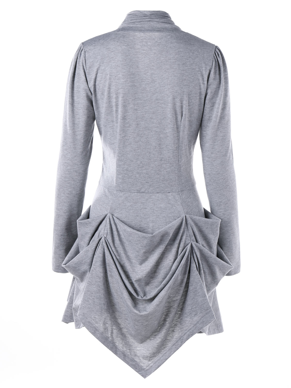 1f847f7f23f2f Gamiss Autumn Winter Women Long T Shirts Single Breasted Ruched Layered  Tops Casual Long Sleeves Female Solid Color Lady Tees-in T-Shirts from  Women s ...