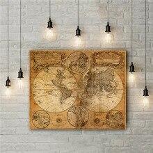 Cuadros de mapa del mundo Vintage sin marco, impresiones en lienzo, adhesivo Retro para pared, diseño elaborado, póster, mapa grande, decoración del hogar