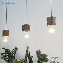 Artpad Natural Wood Nordic Pendant Lamp Living room Dining Room Bar Fixtures E27 LED American Art Wooden Hanging Lamp Light