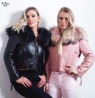 Новые зимние Для женщин натуральный мех ягненка пальто короткая овечья шерсть короткая куртка пальто карманов искусственная кожа Настояще