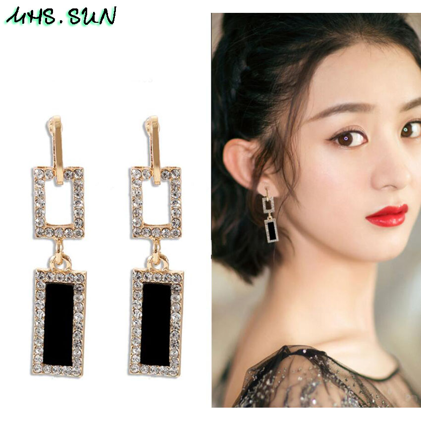 30,OM030,$2.1,5cm S925Fashion Exaggerated Women Crystal Drop Earrings European Style Dangles Earrings Jewelry Trendy Design Party Accessories