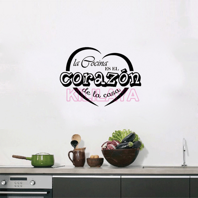 Aliexpress Com Wall Stickers Spanish Cocina Heart Vinyl Sticker Decal Kitchen Walls Decals Home Decor House Decoration Art From Reliable