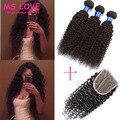 7A Malaysian Curly Hair With Closure 3Bundles Malaysian Virgin Hair With Closure Kinky Curly Hair Ali Moda Hair With Closure