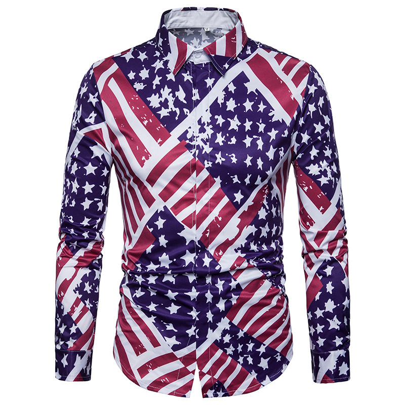 YYG Mens Stripe Print Long Sleeve Casual Chest Pocket Plus Size Baggy Button Up Dress Work Shirt