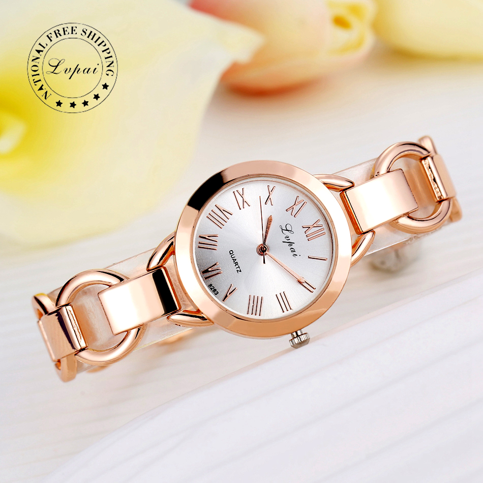 Lvpai Brand Women Watches Luxury Dress Watches Rose Gold Dial Women Bracelet Wristwatch Ladies Quartz Sport Watch