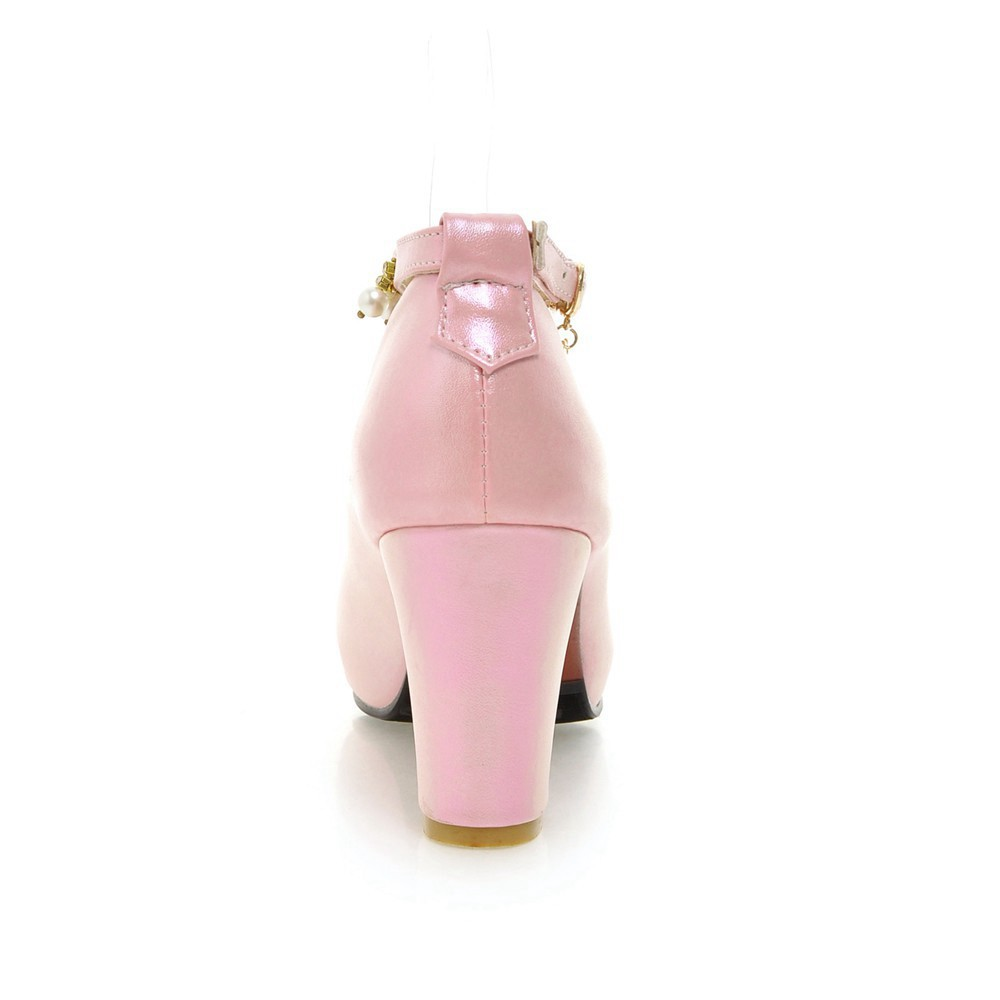 2017 Chunky High Heeled Pink Bridal Wedding Shoes Beaded White Female Buckle Elegant Pumps Silver Gold13