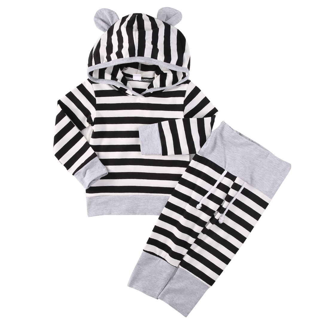 2018 Striped Toddler Kids Baby Boy Girl Long Sleeves Striped Hooded Tops + Long Pants Outfits Clothes Casual Set