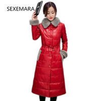 2017 New Winter Pu Leather Jacket Female High Quality Fashion Elegant Long Single Button Buckle Warm