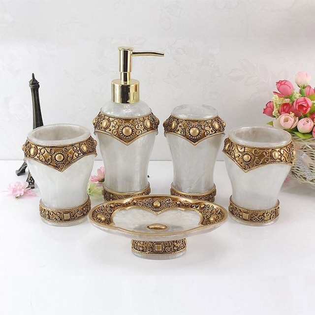 5 Pcs Luxury Roman Resin Bathroom Set Lotion Dispenser Tumbler Toothbrush  Holder Soap Bathroom Accessories Dish