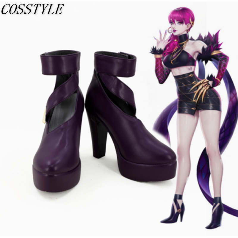 KDA Evelynn Cosplay Shoes Game LOL Evelynn Cosplay High-Heeled Platform Shoes Purple Women LOL K/DA Cosplay Boots Custom Made