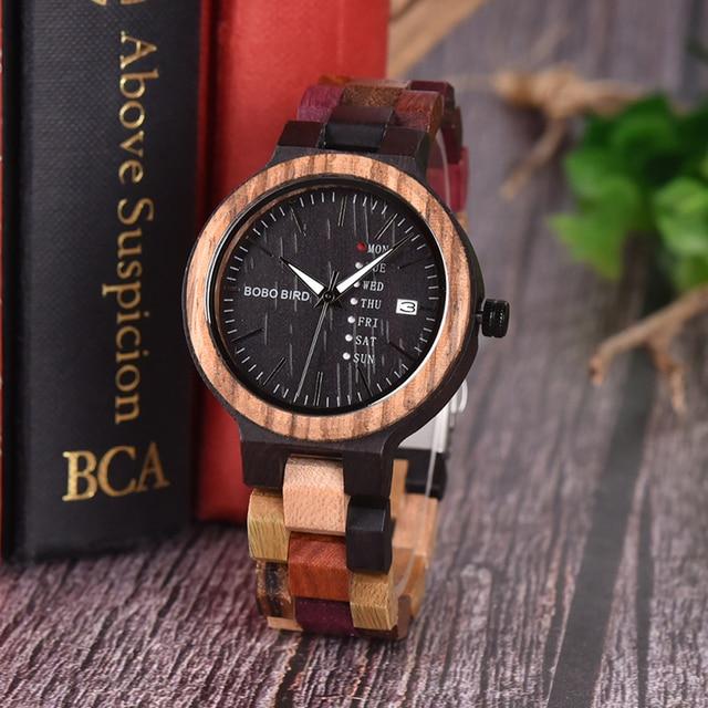 BOBO BIRD Bamboo Wooden Watches Women Show Date Wrist Watch Quartz Ladies in Gif