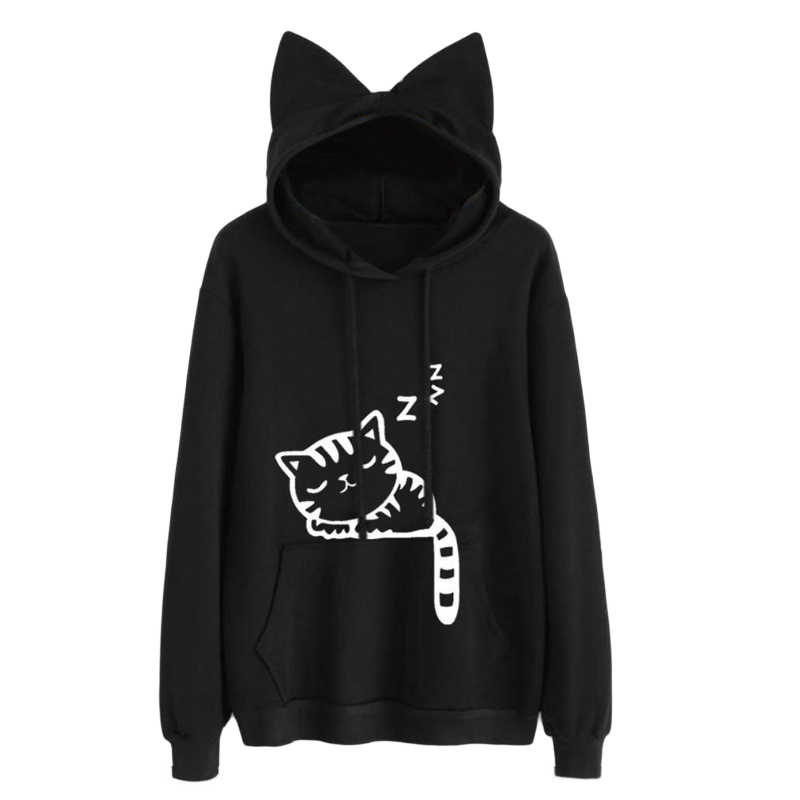 2018 Black Women Kawaii Cat Ear Hoodies Tops Cute Cartoon Sleeping Cat Printed Hooded Sweatshirt Female Loose Pullover Outerwear
