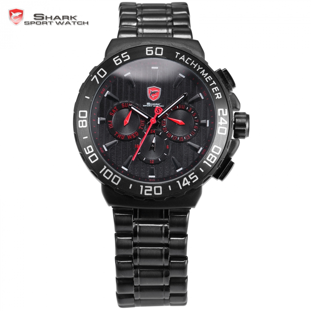 Black Shark Sport Watch Luxury Relojes Stainless Steel Band Waterproof 6 Hands Date Day Display Men's Quartz Watch / SH379 blacktip shark sport watch cool black 6 hands dashboard 24hr date day mens outdoor quartz stainless steel band wristwatch sh397