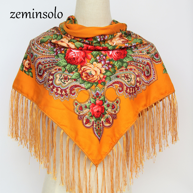 New Fashion Russian Brand Big Size Square Scarf Women Hijab Cotton Long Tassel Print Scarf Spring Winter Scarves Shawls Stoles