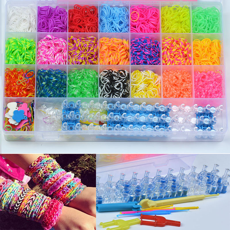 4800pc Gum For Bracelets High Quality Silicone Loom Bands Box Refills Rubber Kids DIY Beads Colorful Rubber Loom Band Box
