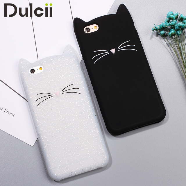 quality design 4f1c7 c29ec US $3.79 |DULCII for iPhone 6s 6 Case 3D Bearded Cat Silicone Soft Cell  Phone Case for iPhone 6 s iPhone6s Cover Cute Shell iPhone6-in Fitted Cases  ...