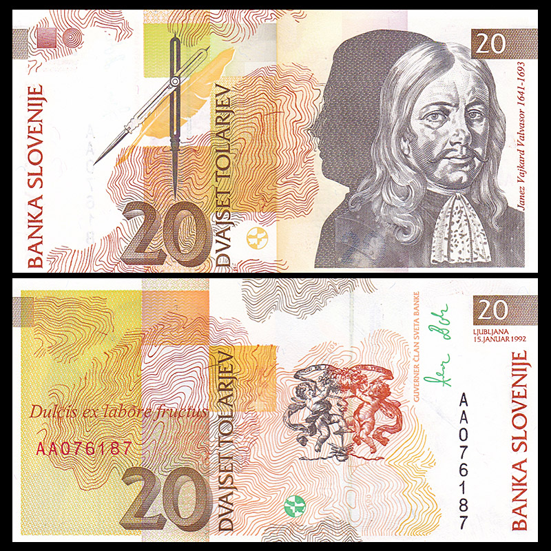 Slovenia 20 Tolarjev, 1992, P-12, UNC, Banknotes, Uncirculated, Collection, Gift, Europe, Original Paper  Notes