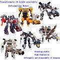 Los niños de plástico robot deformación funde vehículos de juguete niño juguetes transformación optimus prime galvatron modelo 14 tipos disponibles