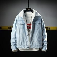 2018 Autumn Winter Fashion Men Jacket Blue Color Classical Thick Warm Coat Vintage Outwear Simple Denim Velvet Parka