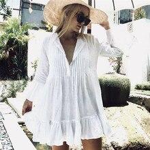 Летний короткий топ, женская тонкая прозрачная блузка, рубашка из хлопка и льна с длинным рукавом, повседневные свободные рубашки, женские топы, Blusas Mujer