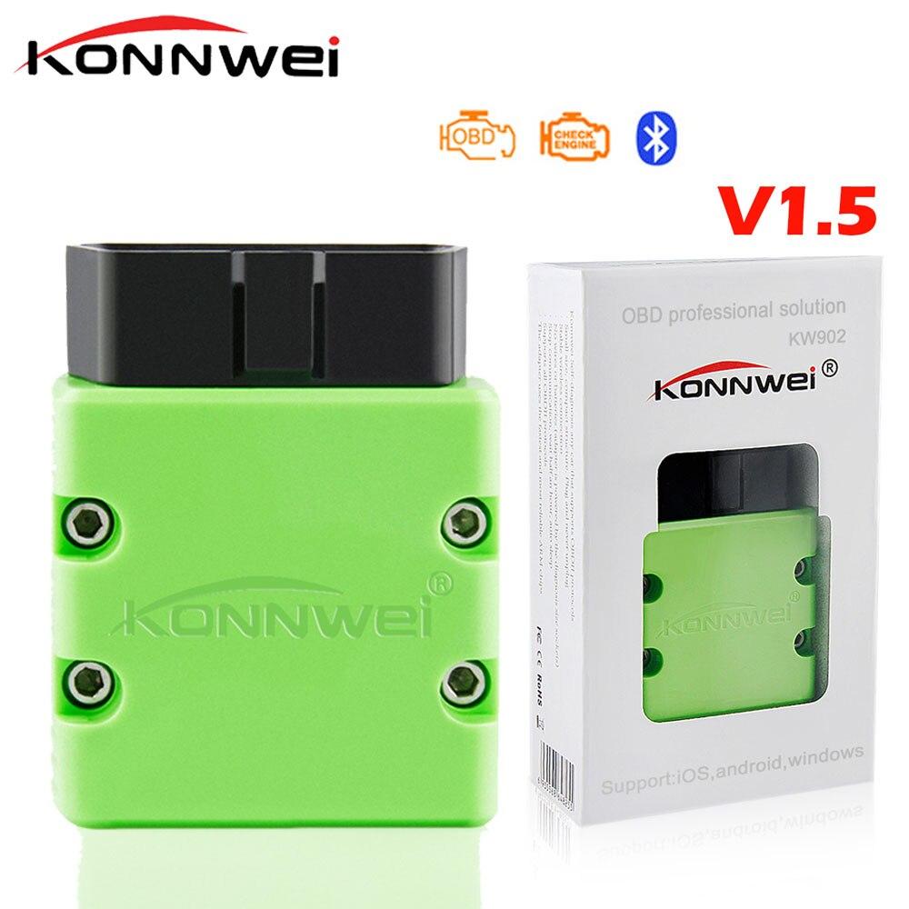 KONNWEI KW902 Bluetooth ELM327 V1.5 Chip PIC18f25k80 OBD2 escáner MINI ELM 327 OBDII KW902 lector de código de Android Teléfono Windows